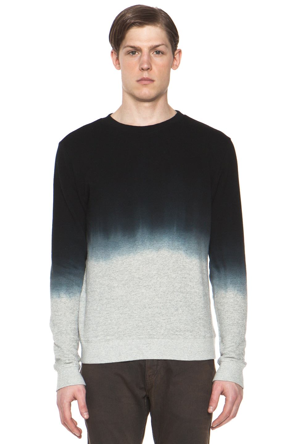 Image 1 of Robert Geller Dip Dyed Sweatshirt in Charcoal