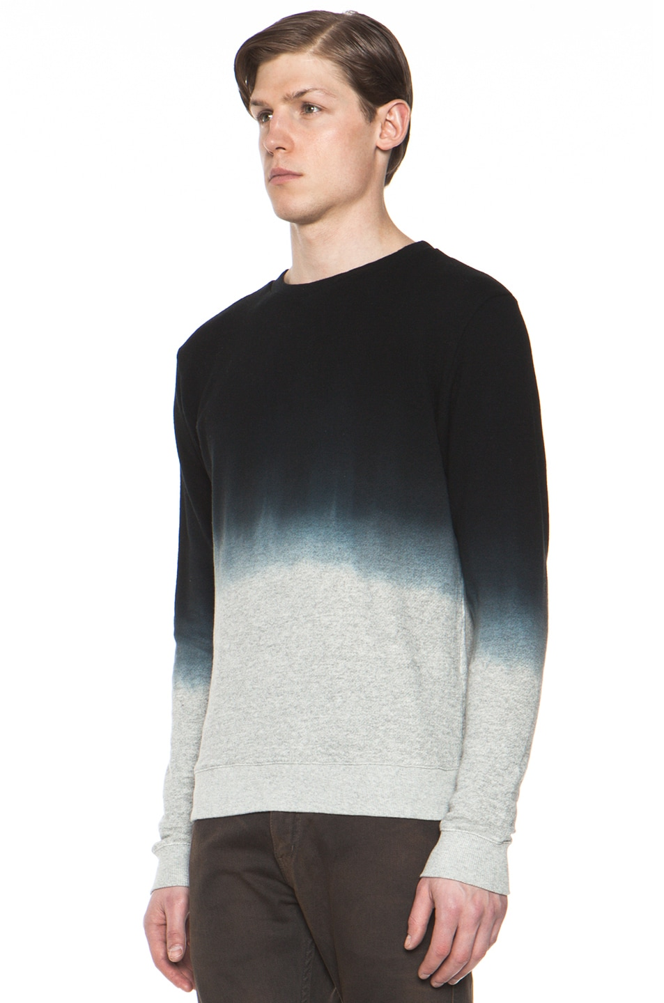 Image 2 of Robert Geller Dip Dyed Sweatshirt in Charcoal