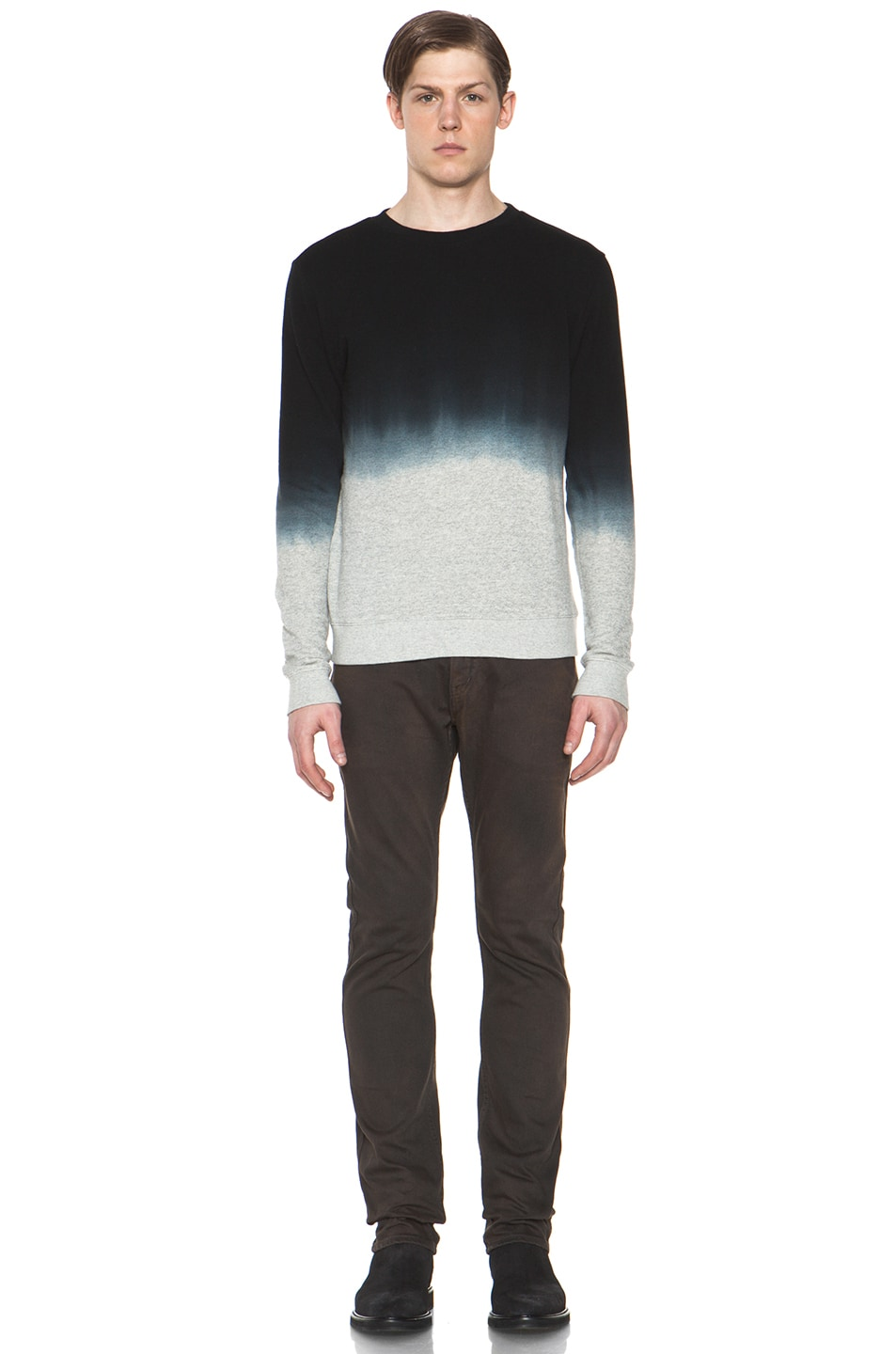 Image 5 of Robert Geller Dip Dyed Sweatshirt in Charcoal