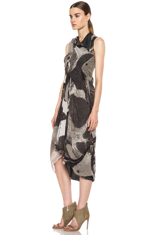 Image 2 of Rick Owens Tornado Silk Dress in Milk & Black