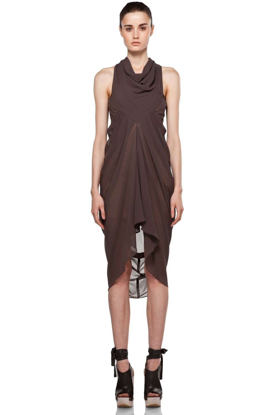 Image 1 of Rick Owens Drape Dress in DNA Dust