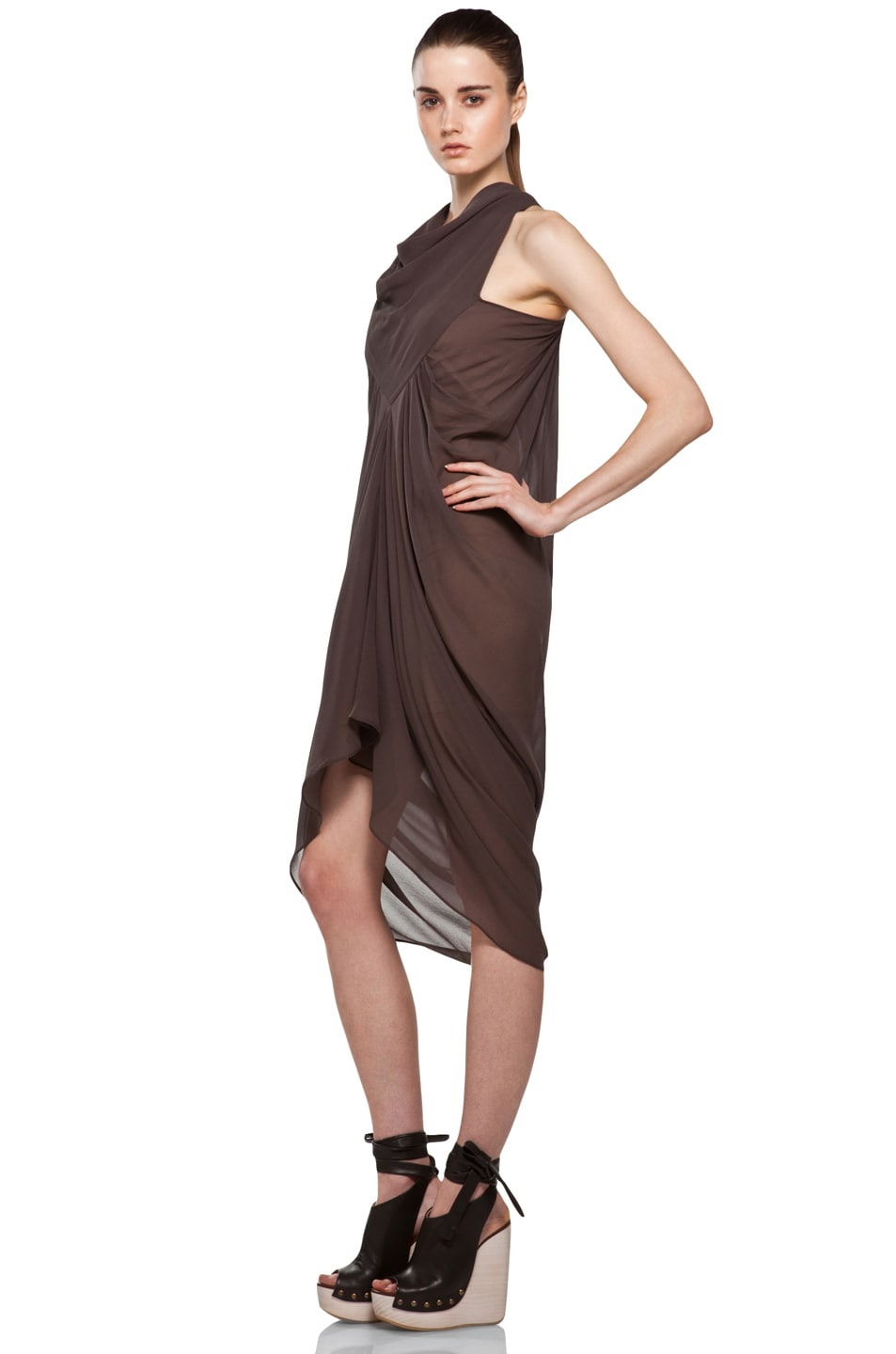 Image 2 of Rick Owens Drape Dress in DNA Dust