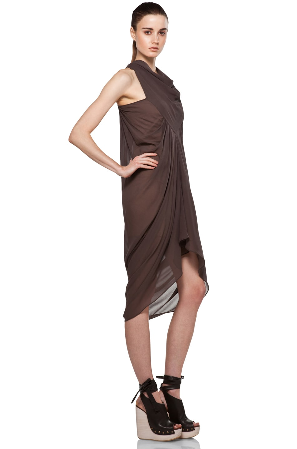 Image 3 of Rick Owens Drape Dress in DNA Dust