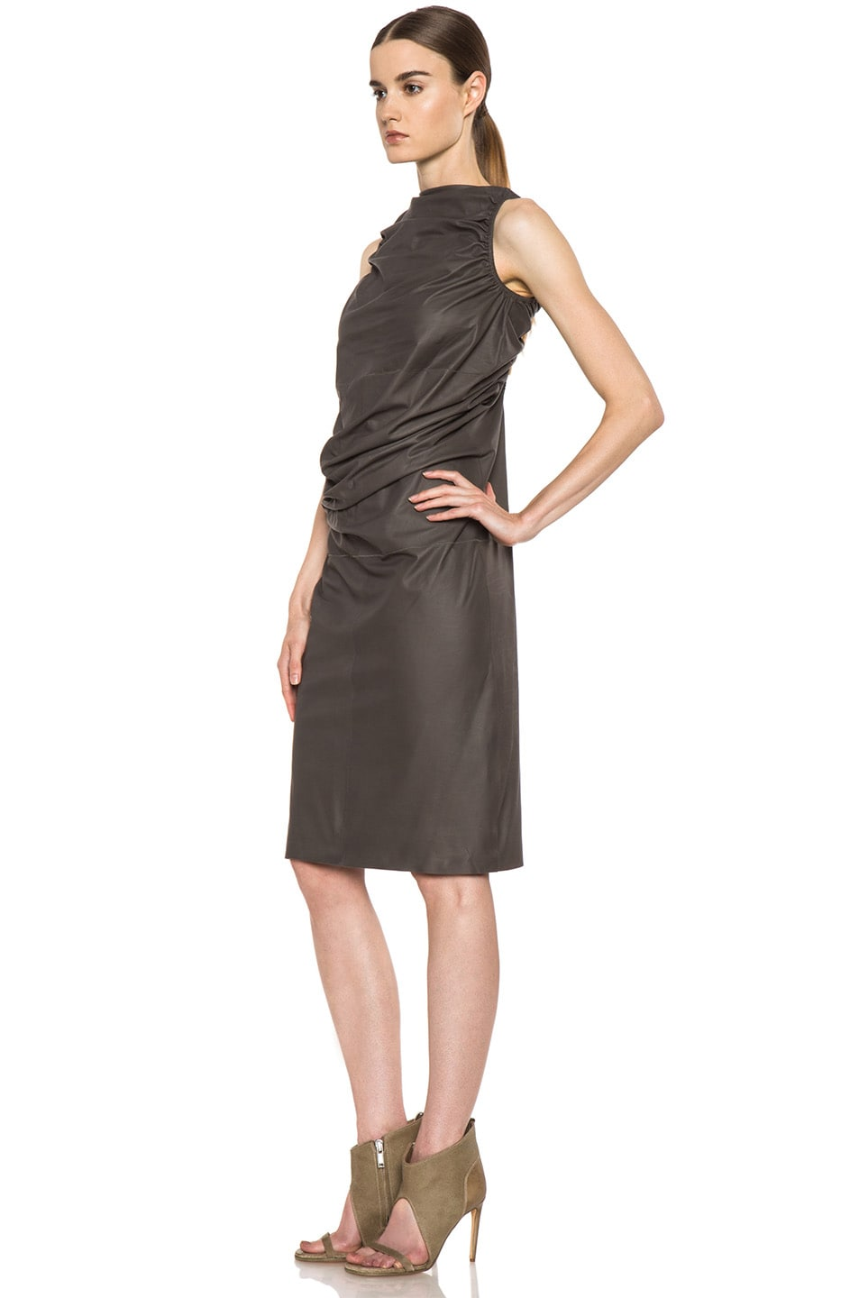 Image 2 of Rick Owens RUNWAY Leather Tube Tunic in Dark Dust