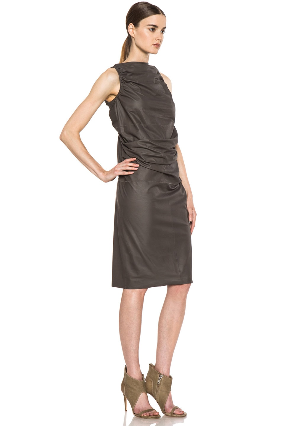 Image 3 of Rick Owens RUNWAY Leather Tube Tunic in Dark Dust
