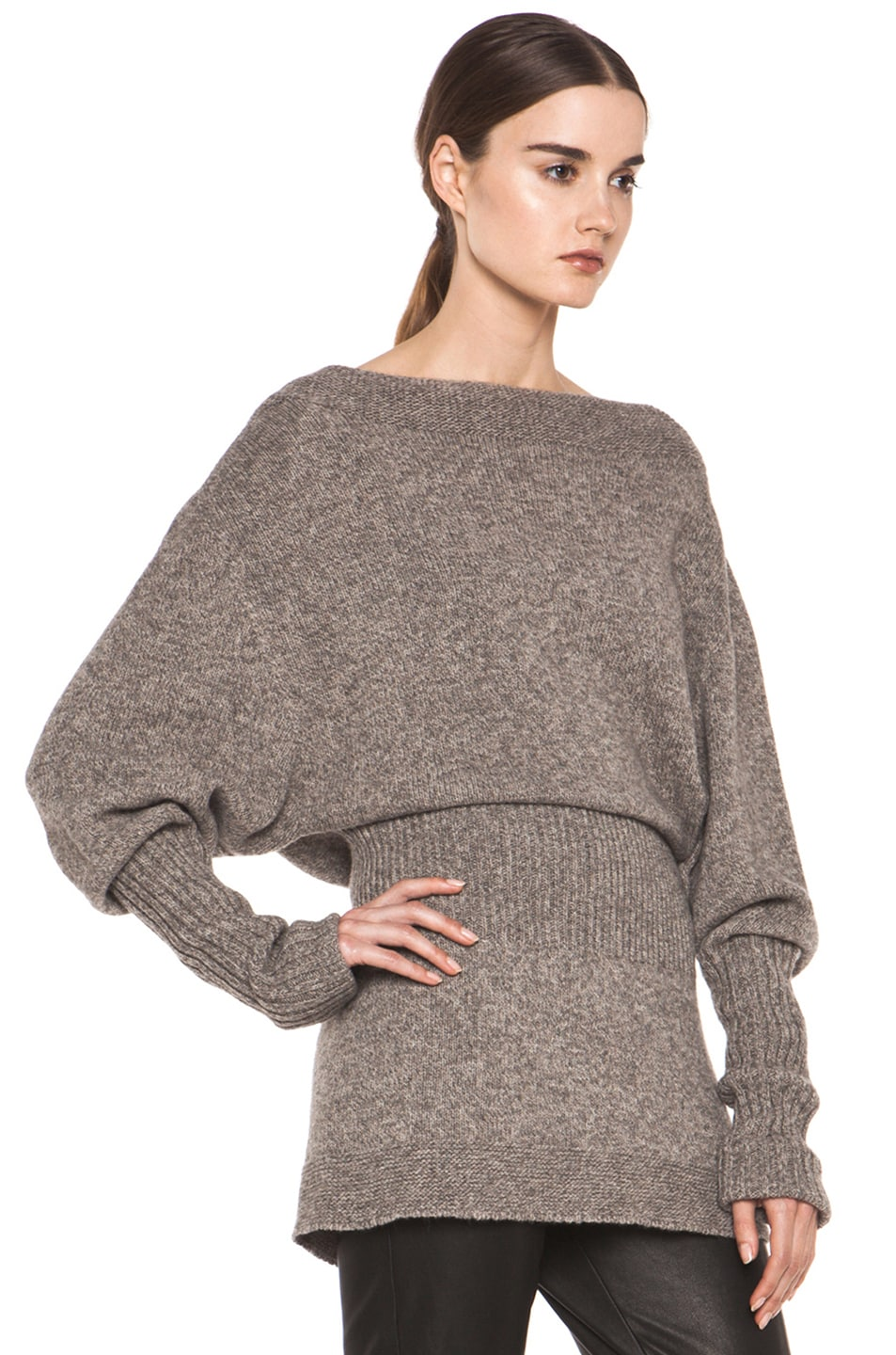 Image 3 of Rick Owens Dafne Long Sleeve Sweater in Light Grey