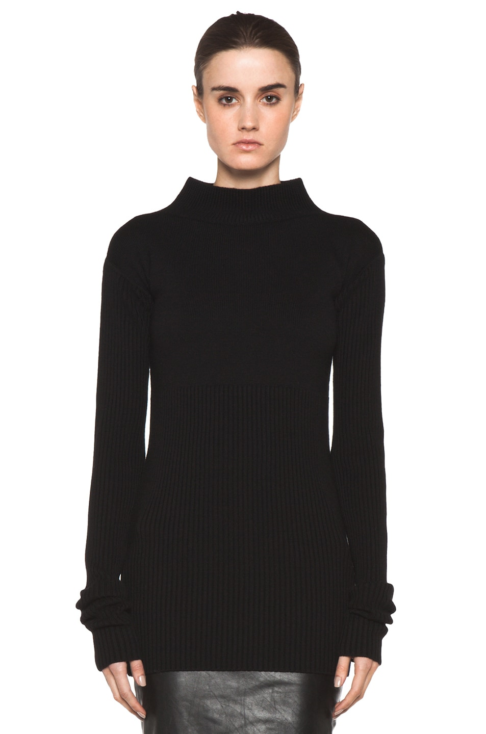 Image 1 of Rick Owens Tight Ala Long Sleeve Sweater in Black