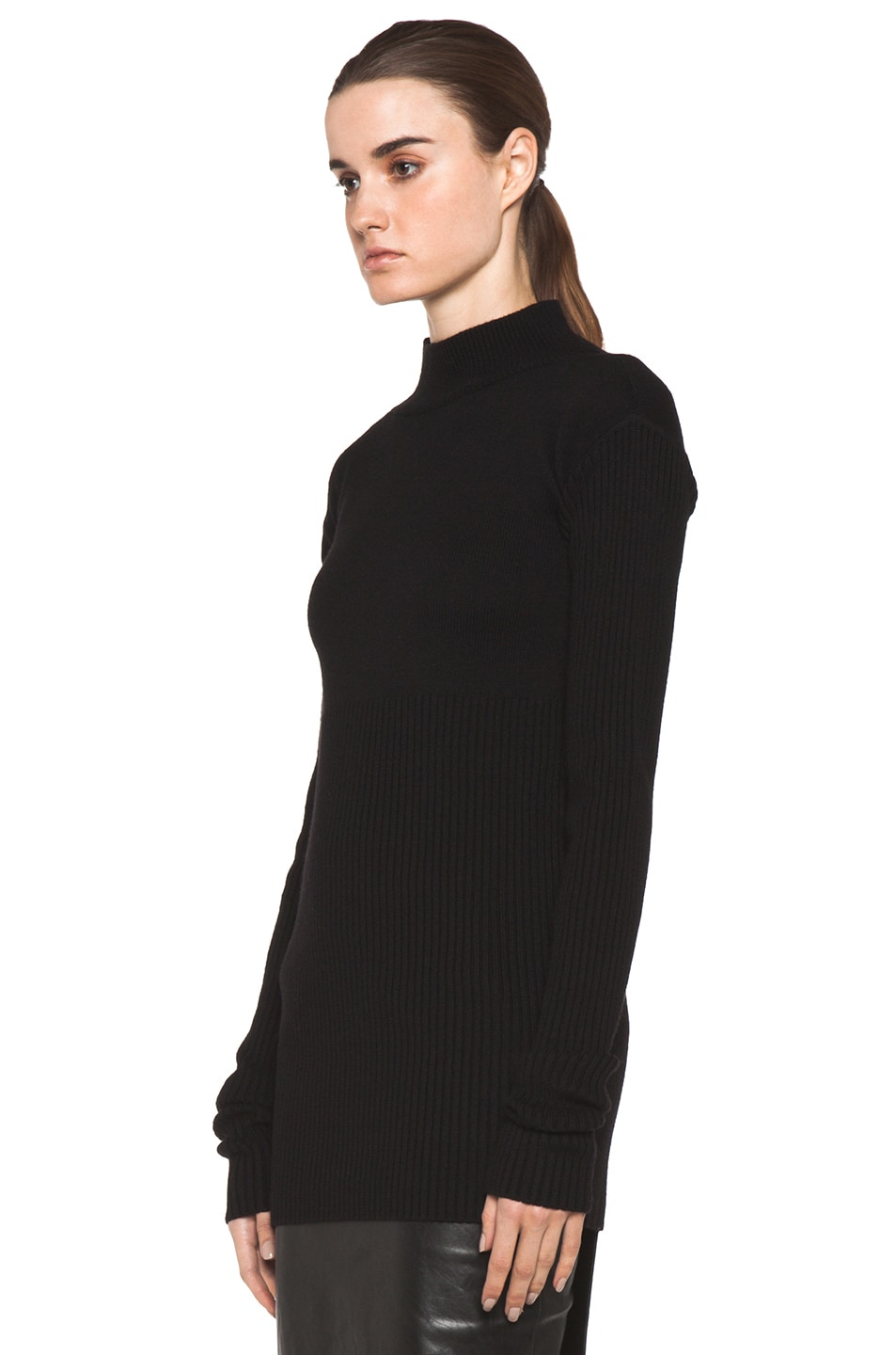 Image 2 of Rick Owens Tight Ala Long Sleeve Sweater in Black