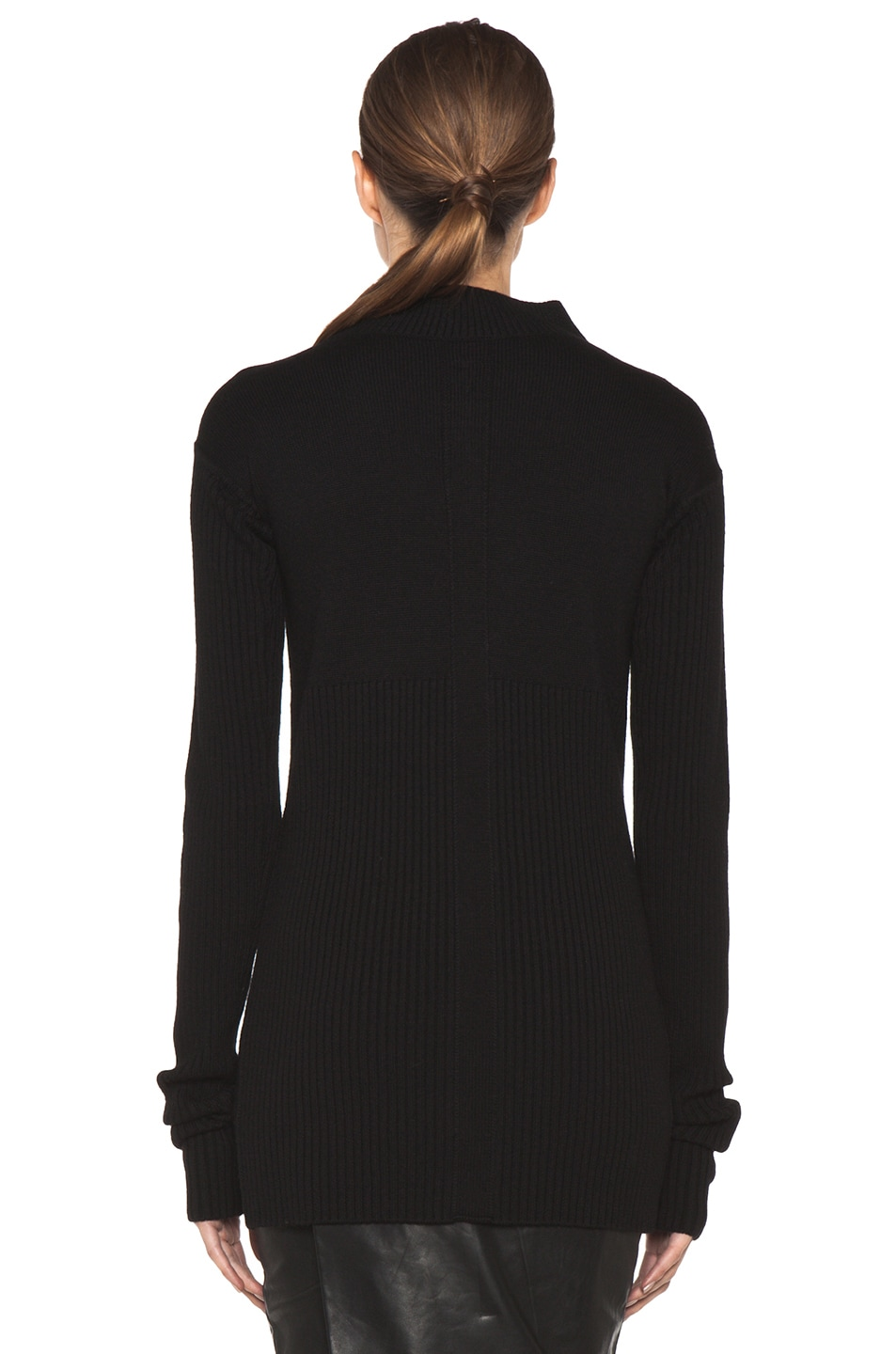Image 4 of Rick Owens Tight Ala Long Sleeve Sweater in Black