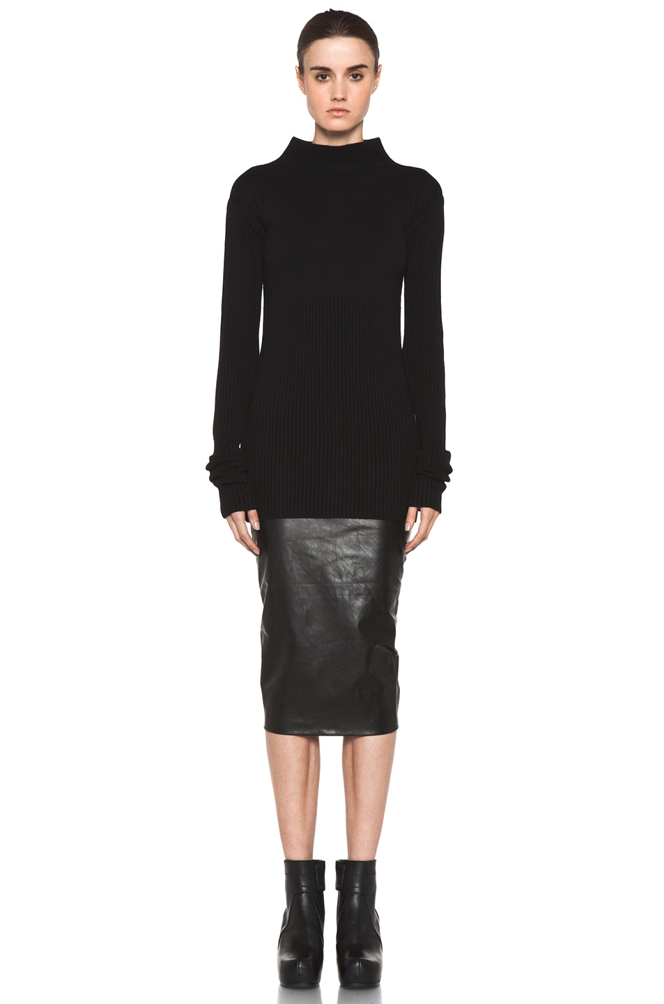 Image 5 of Rick Owens Tight Ala Long Sleeve Sweater in Black