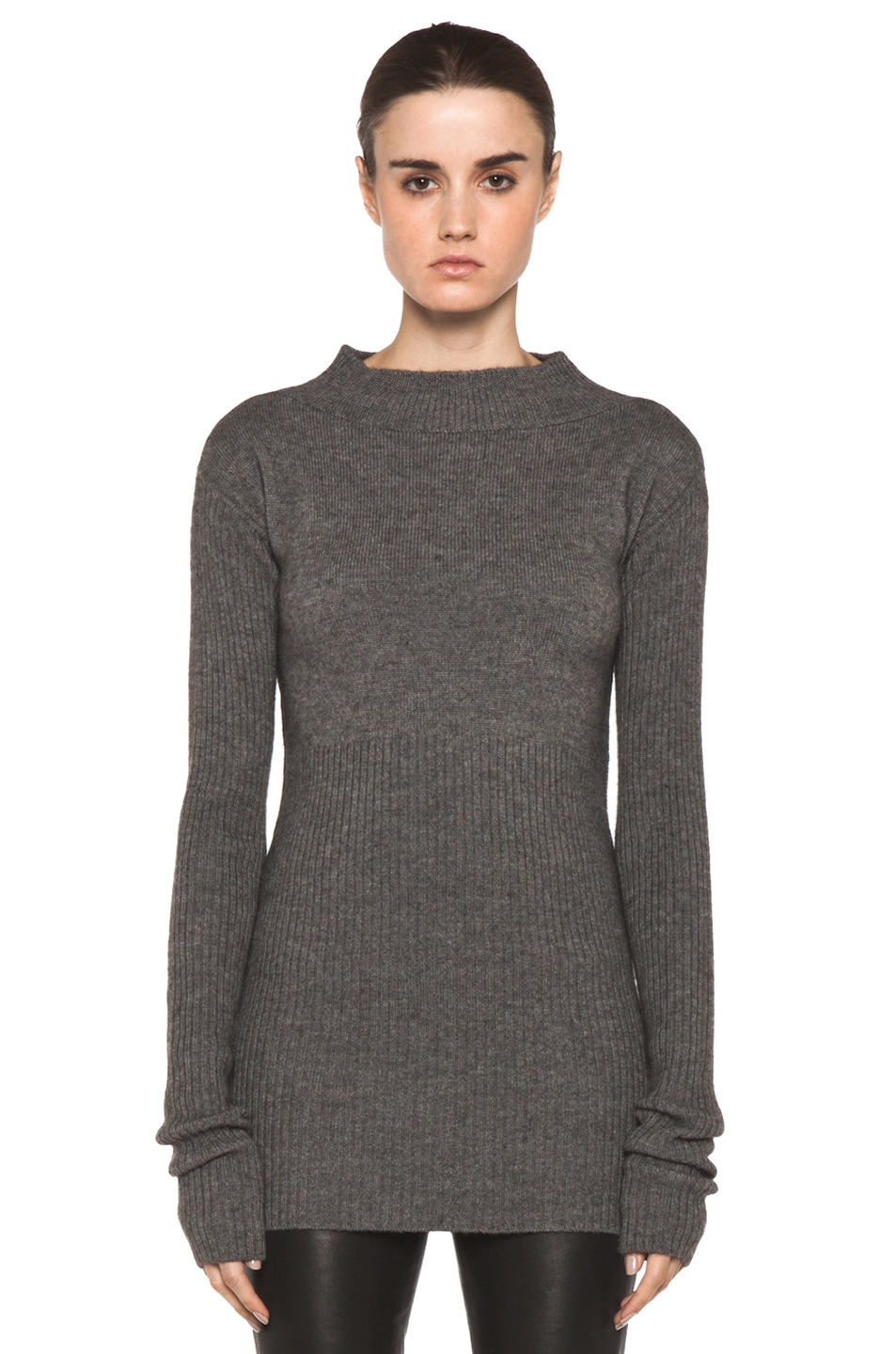 Image 1 of Rick Owens Tight Ala Long Sleeve Sweater in Light Grey