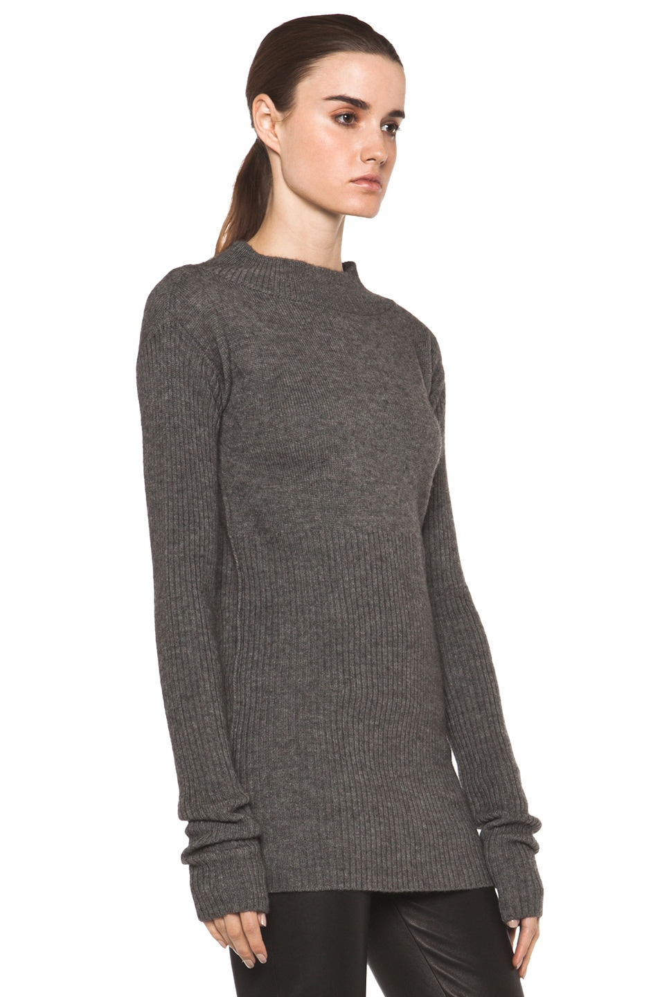 Image 3 of Rick Owens Tight Ala Long Sleeve Sweater in Light Grey