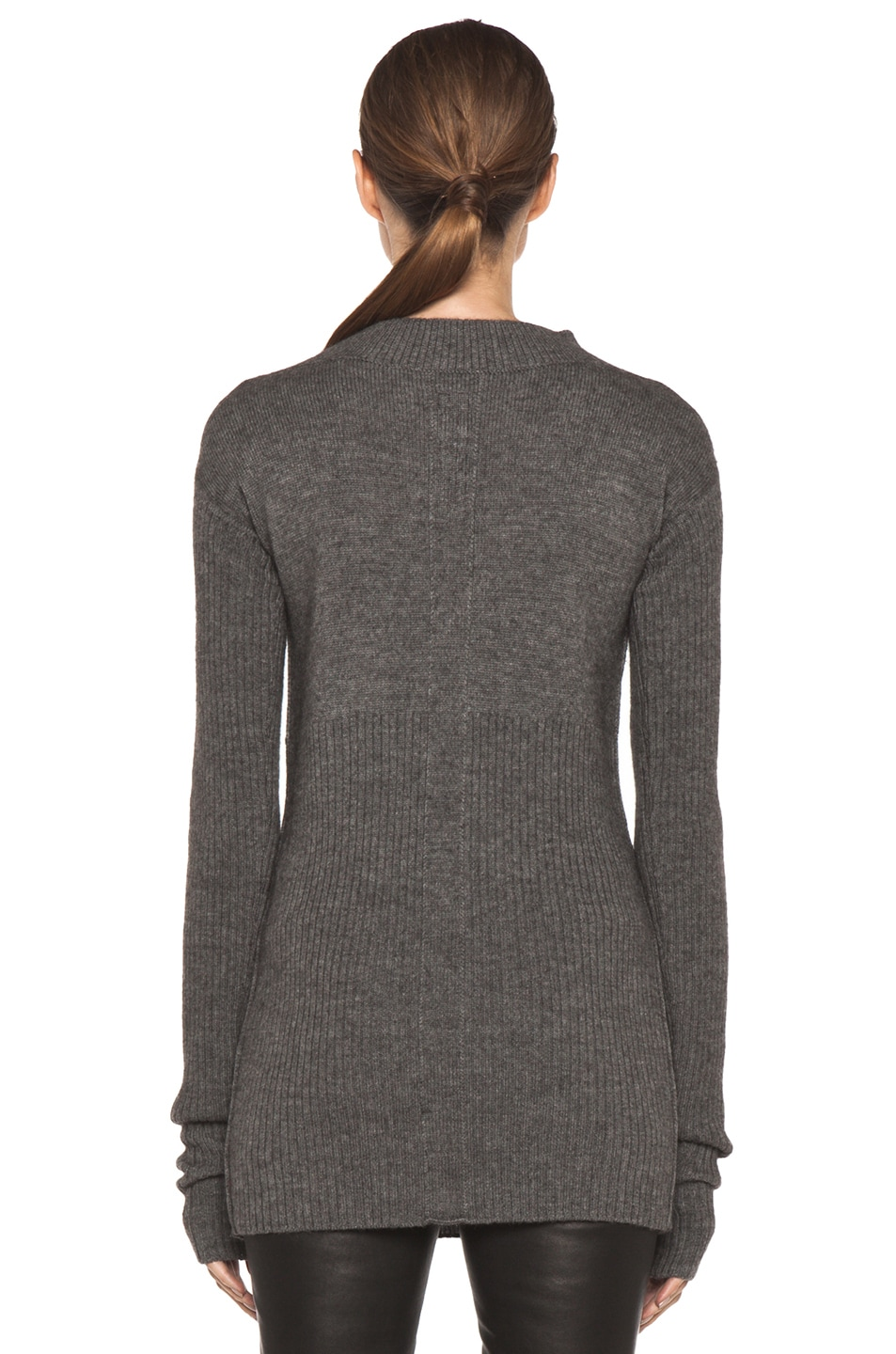 Image 4 of Rick Owens Tight Ala Long Sleeve Sweater in Light Grey