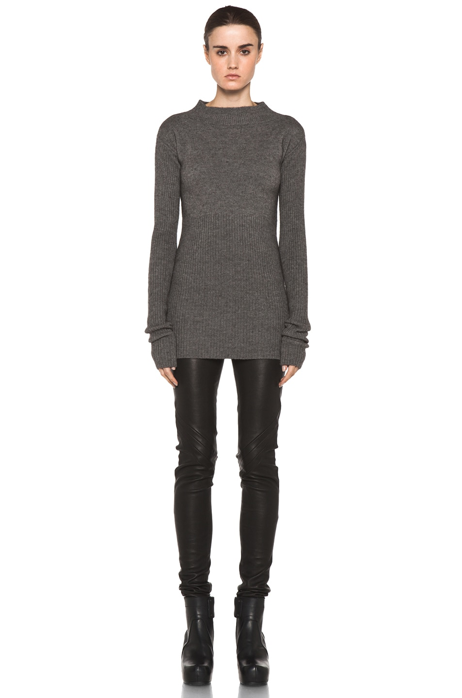 Image 5 of Rick Owens Tight Ala Long Sleeve Sweater in Light Grey