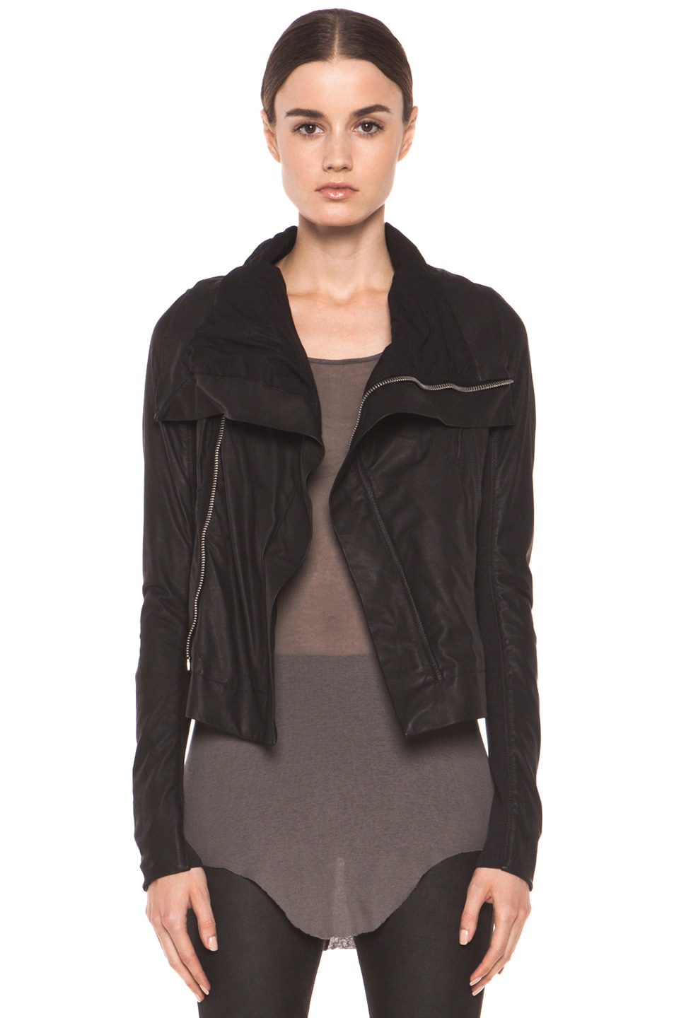 Image 1 of Rick Owens Classic Smooth Leather Biker Jacket in Black
