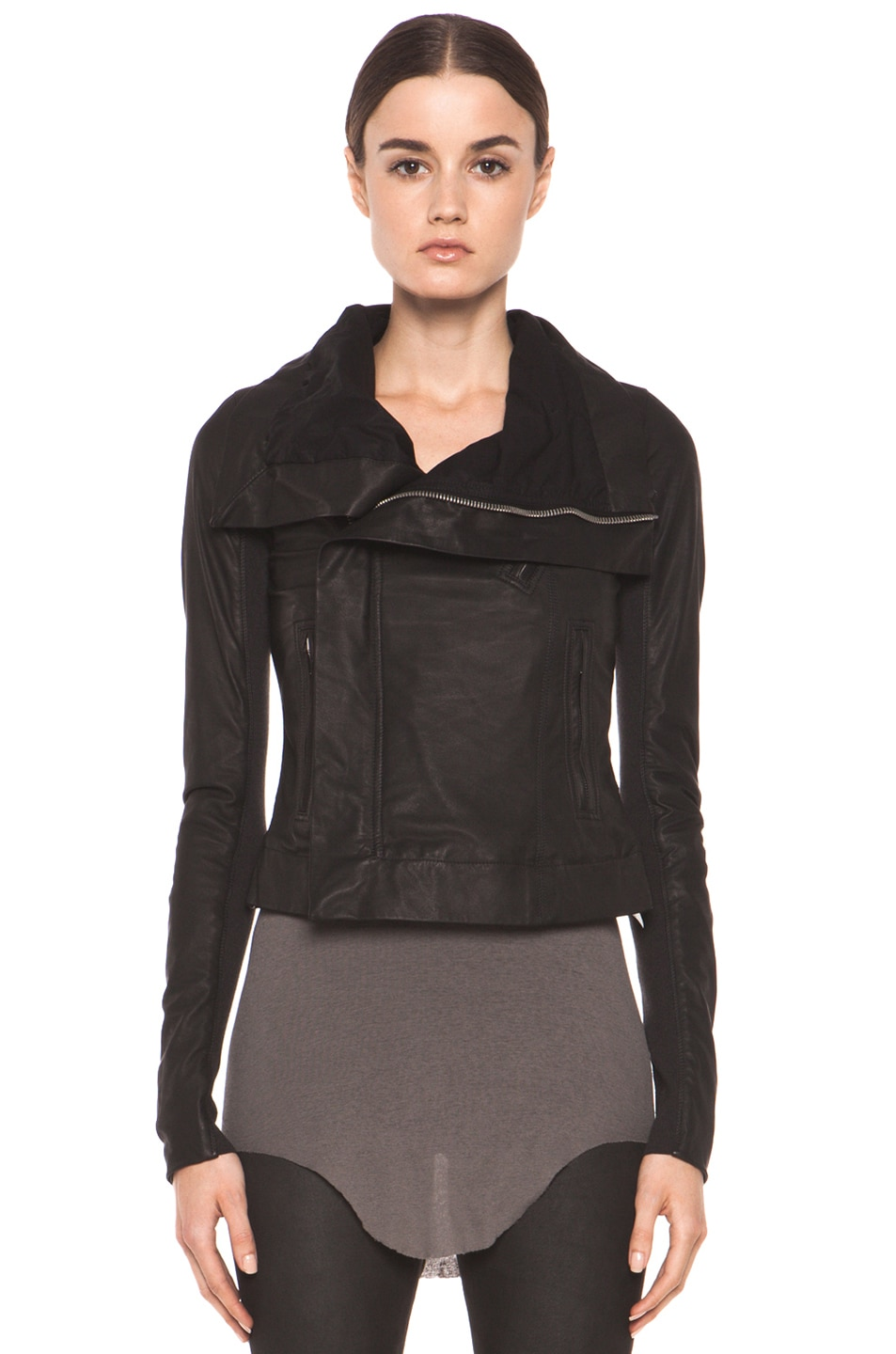 Image 2 of Rick Owens Classic Smooth Leather Biker Jacket in Black