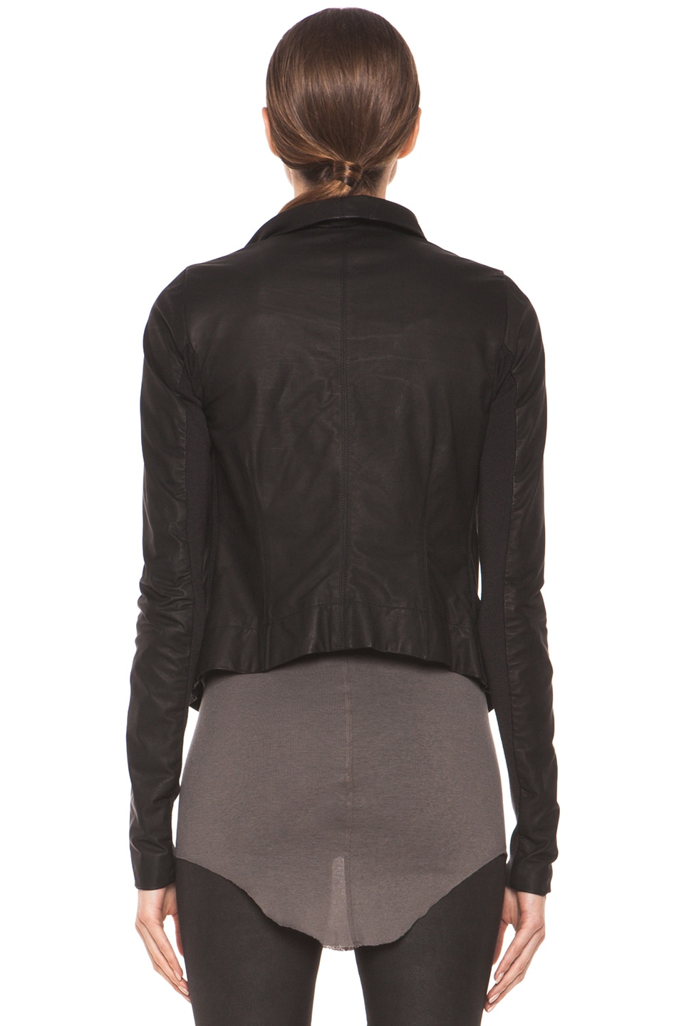 Image 5 of Rick Owens Classic Smooth Leather Biker Jacket in Black
