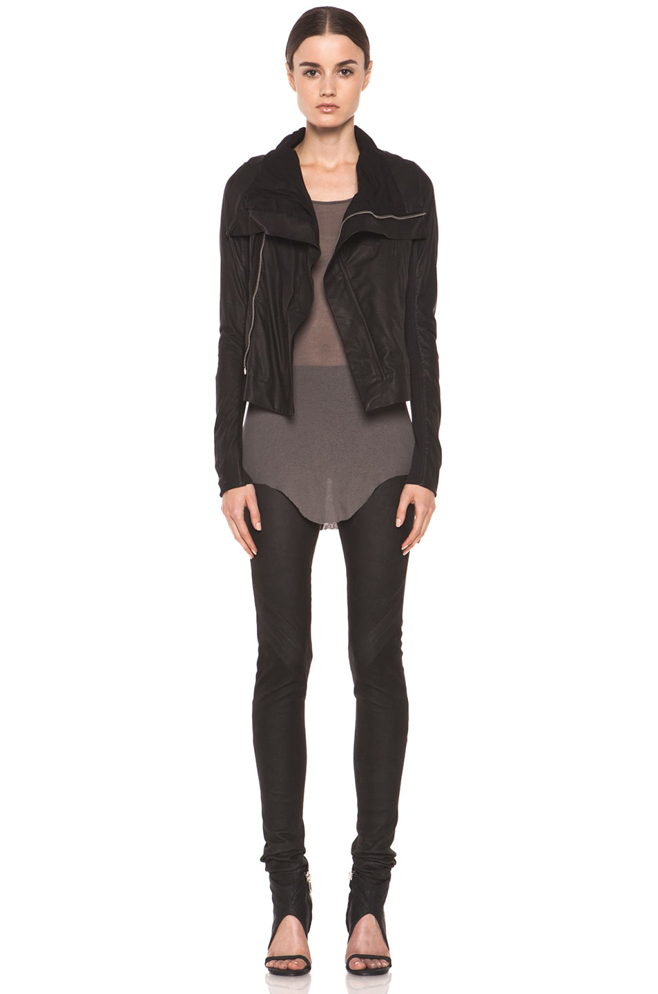 Image 6 of Rick Owens Classic Smooth Leather Biker Jacket in Black