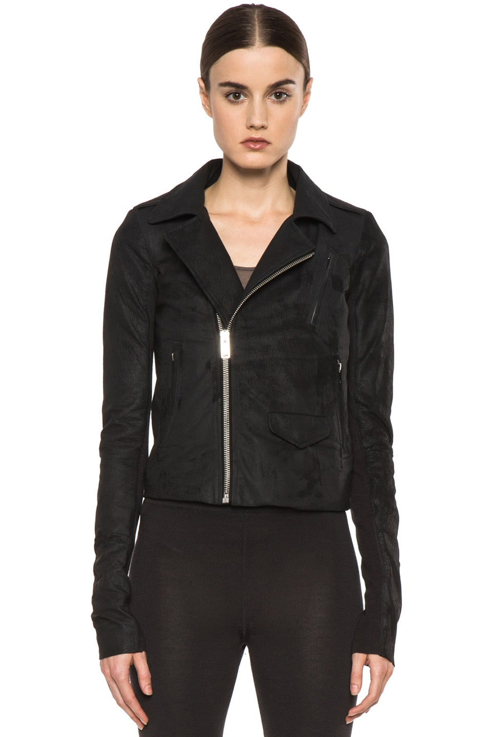 Image 2 of Rick Owens Short Stooges Lambskin Leather Moto Jacket in Black