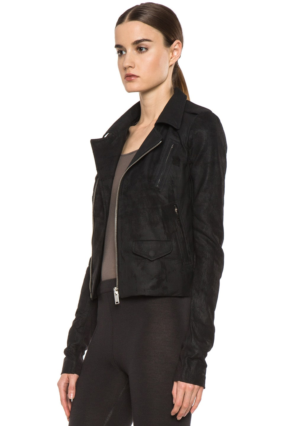 Image 3 of Rick Owens Short Stooges Lambskin Leather Moto Jacket in Black