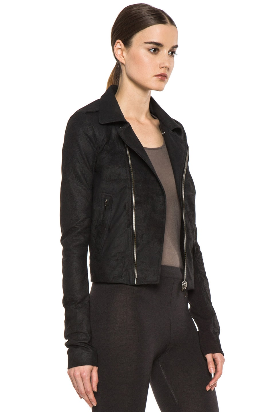 Image 4 of Rick Owens Short Stooges Lambskin Leather Moto Jacket in Black