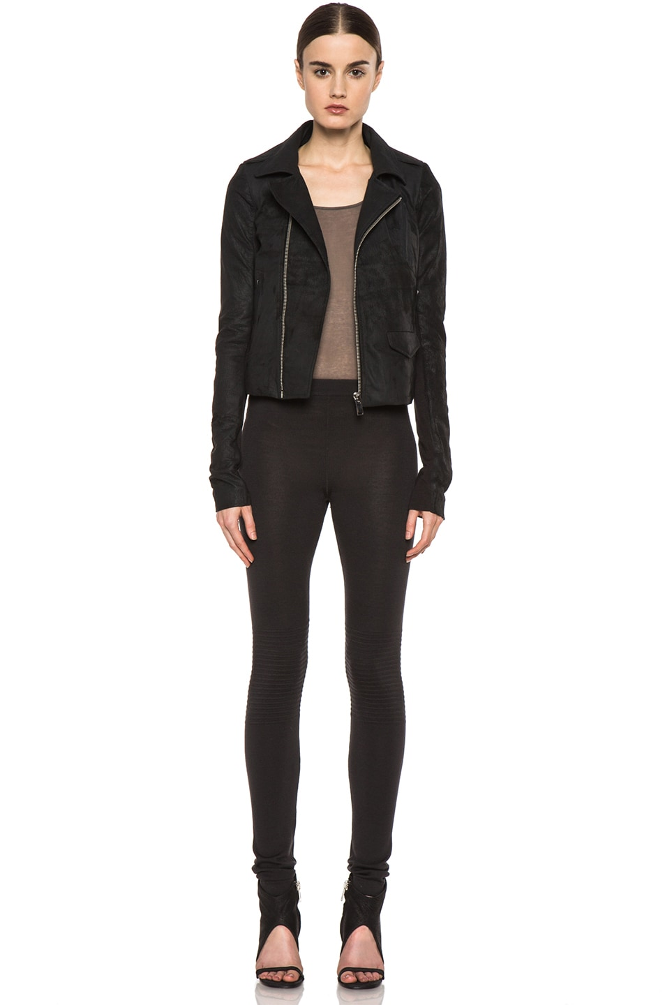 Image 6 of Rick Owens Short Stooges Lambskin Leather Moto Jacket in Black