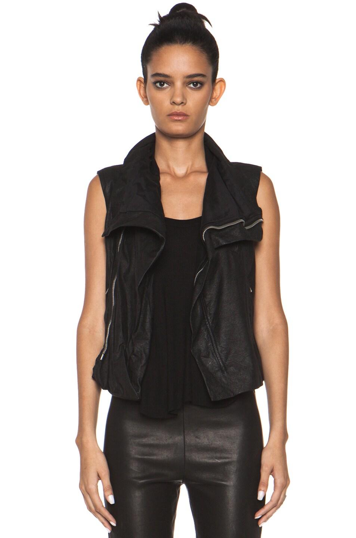 Image 1 of Rick Owens Leather Biker Combo Vest in Black