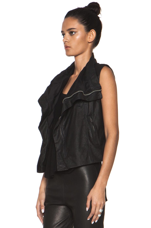 Image 3 of Rick Owens Leather Biker Combo Vest in Black