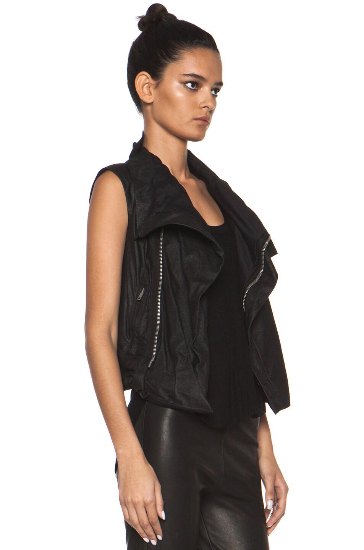 Image 4 of Rick Owens Leather Biker Combo Vest in Black