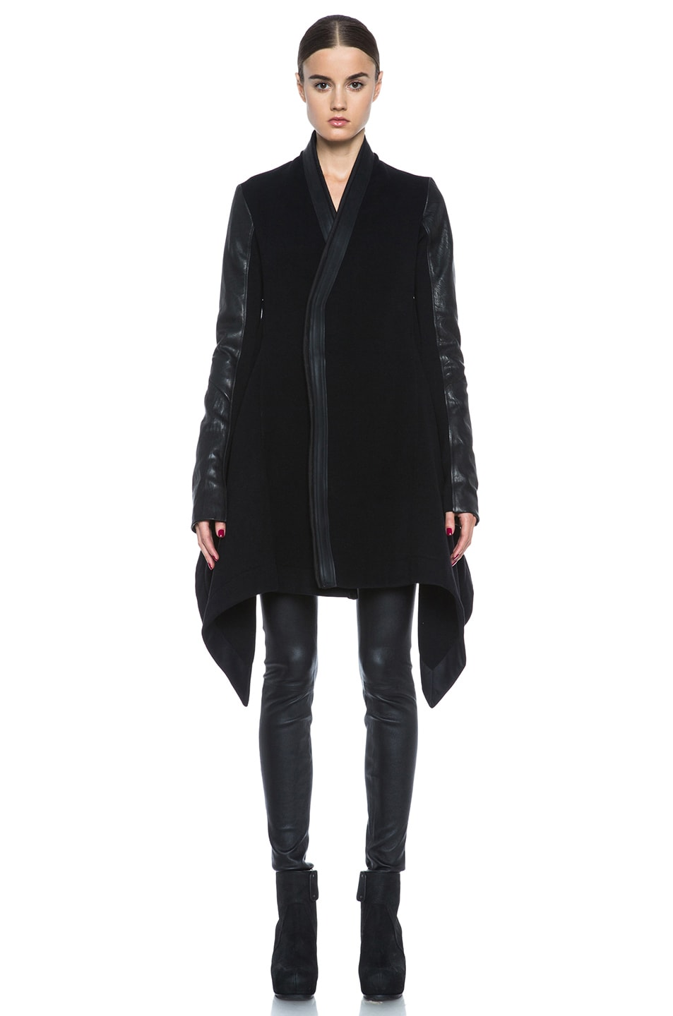 Image 2 of Rick Owens Oblique Double Breasted Wool-Blend Coat in Black