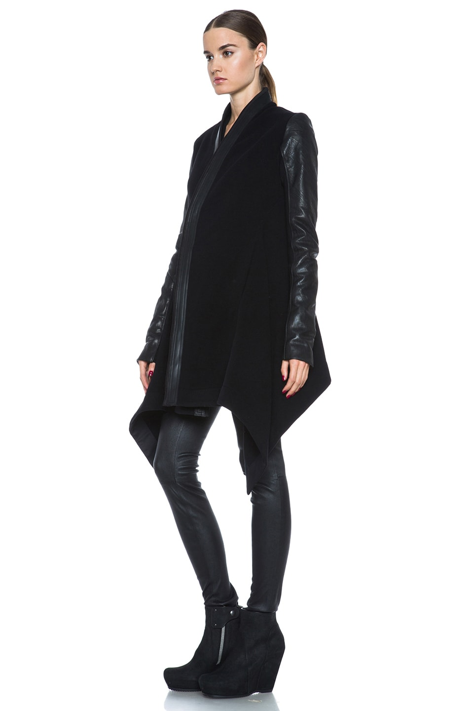 Image 3 of Rick Owens Oblique Double Breasted Wool-Blend Coat in Black