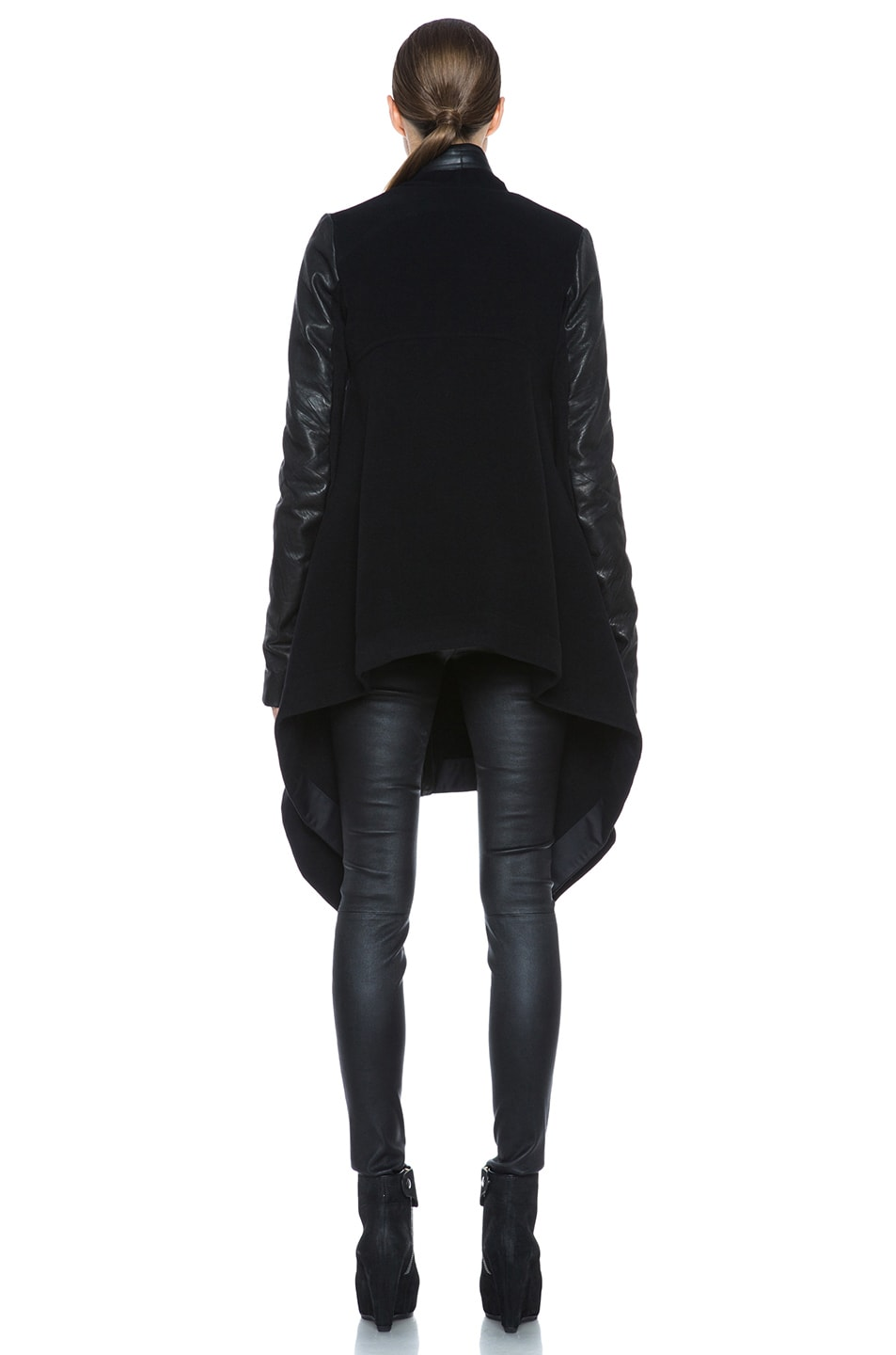 Image 5 of Rick Owens Oblique Double Breasted Wool-Blend Coat in Black