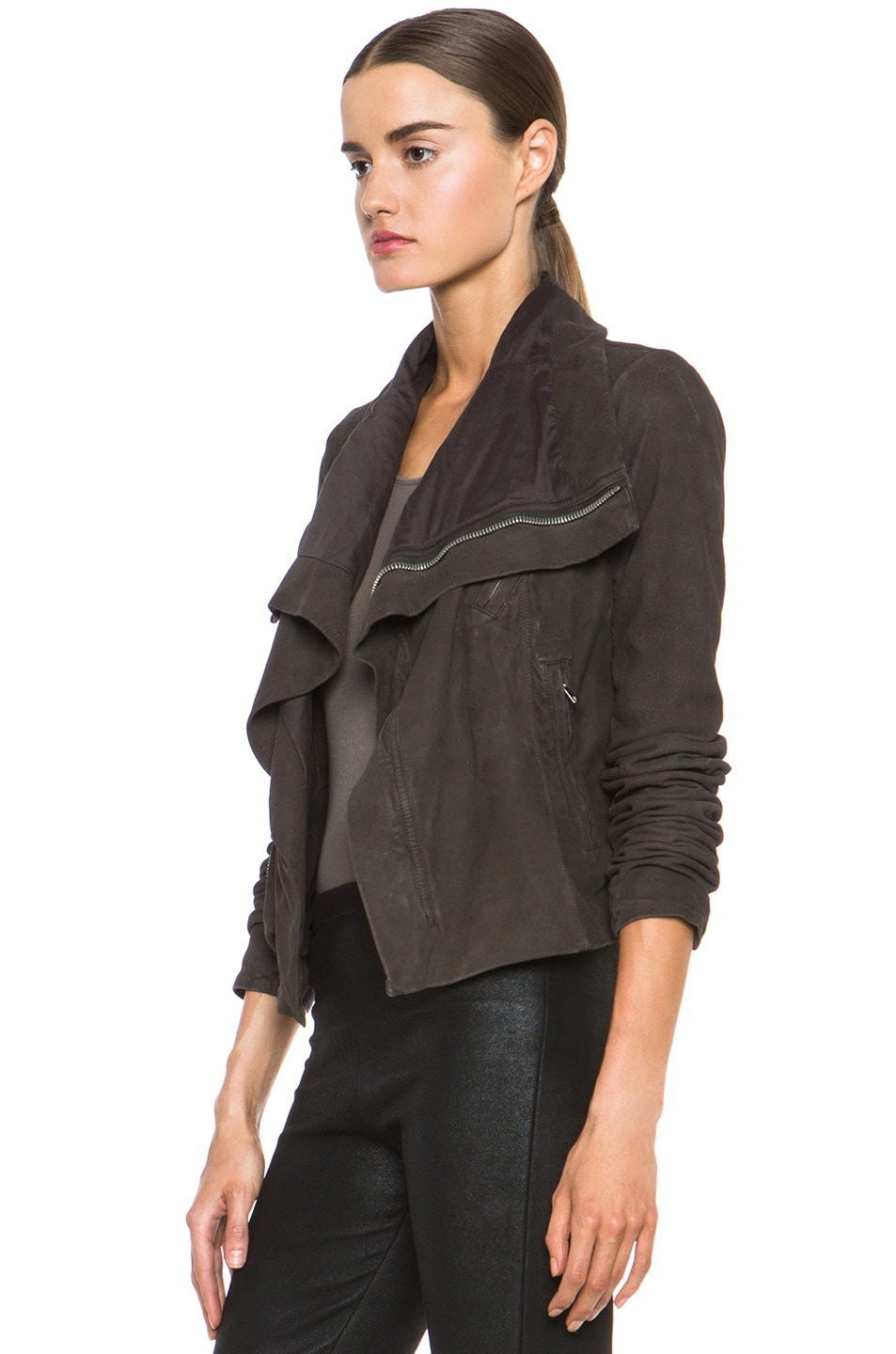 Image 3 of Rick Owens Classic Biker Jacket in Bitter