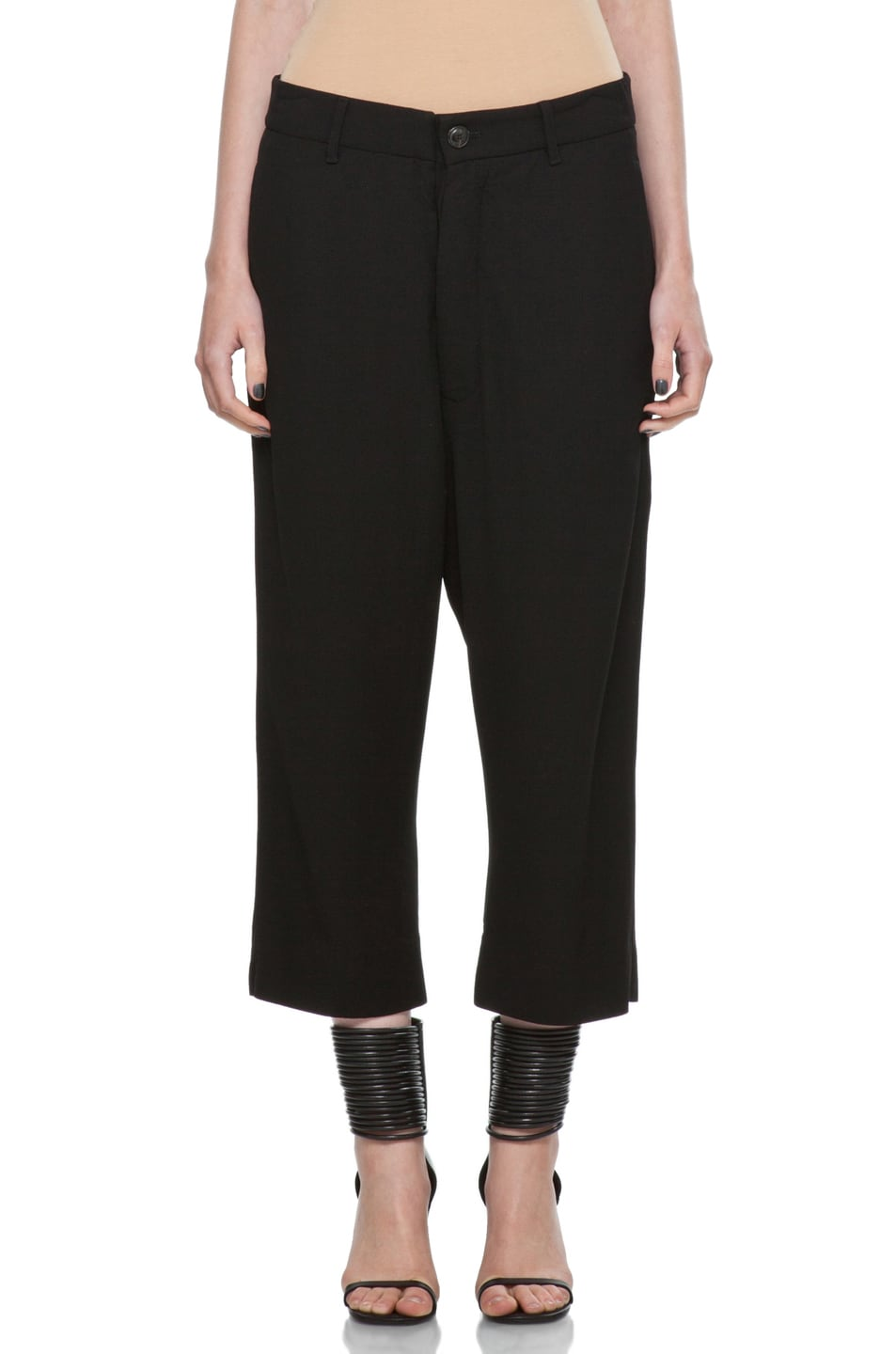 Image 1 of Rick Owens Cropped Loose Pant in Black