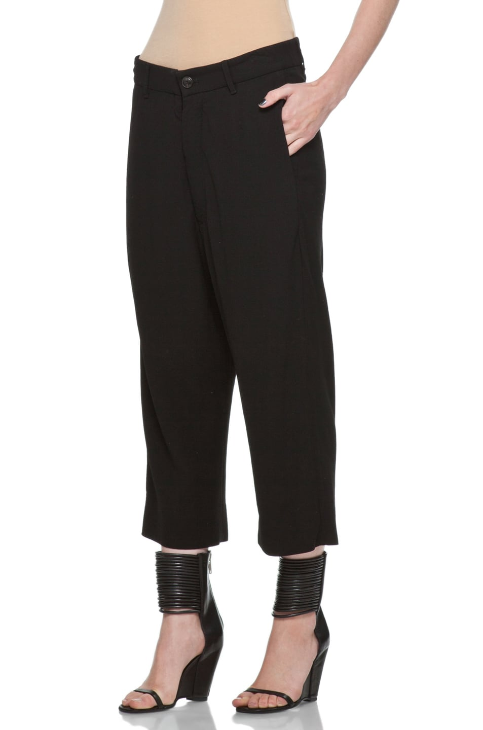 Image 2 of Rick Owens Cropped Loose Pant in Black