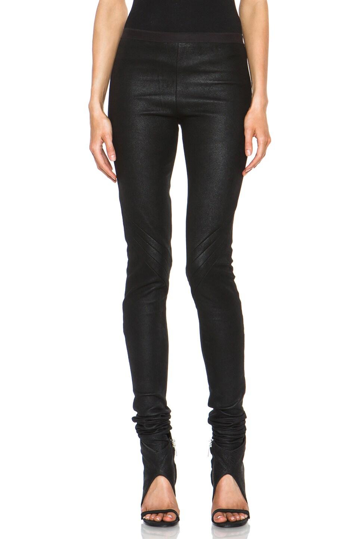 Image 1 of Rick Owens Leather Leggings in Black