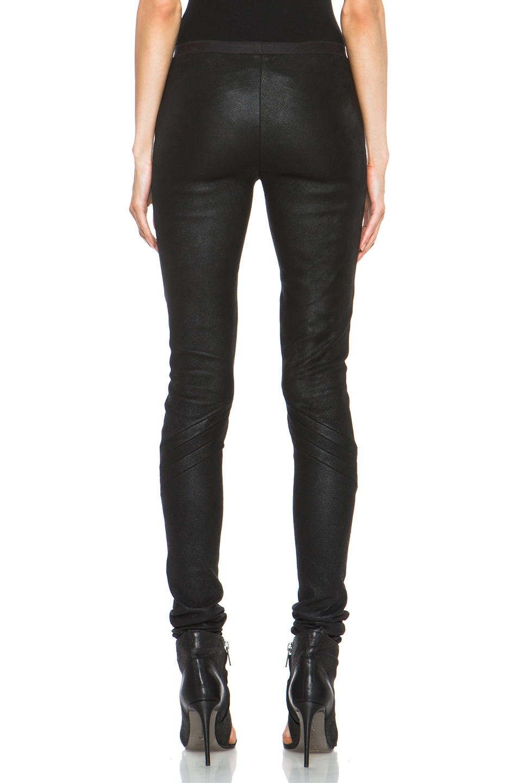 Image 4 of Rick Owens Leather Leggings in Black