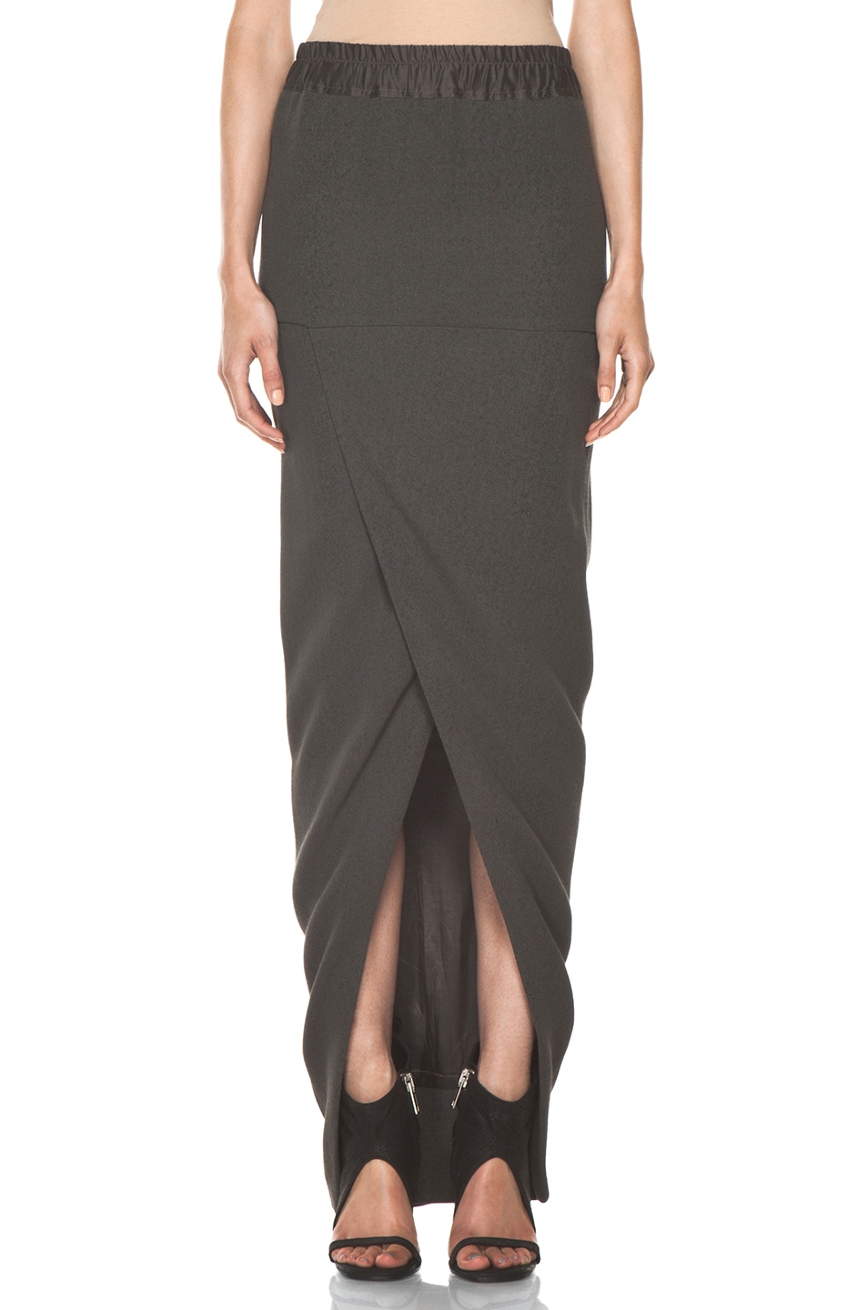 Image 1 of Rick Owens Front Wrap Skirt in Dark Dust