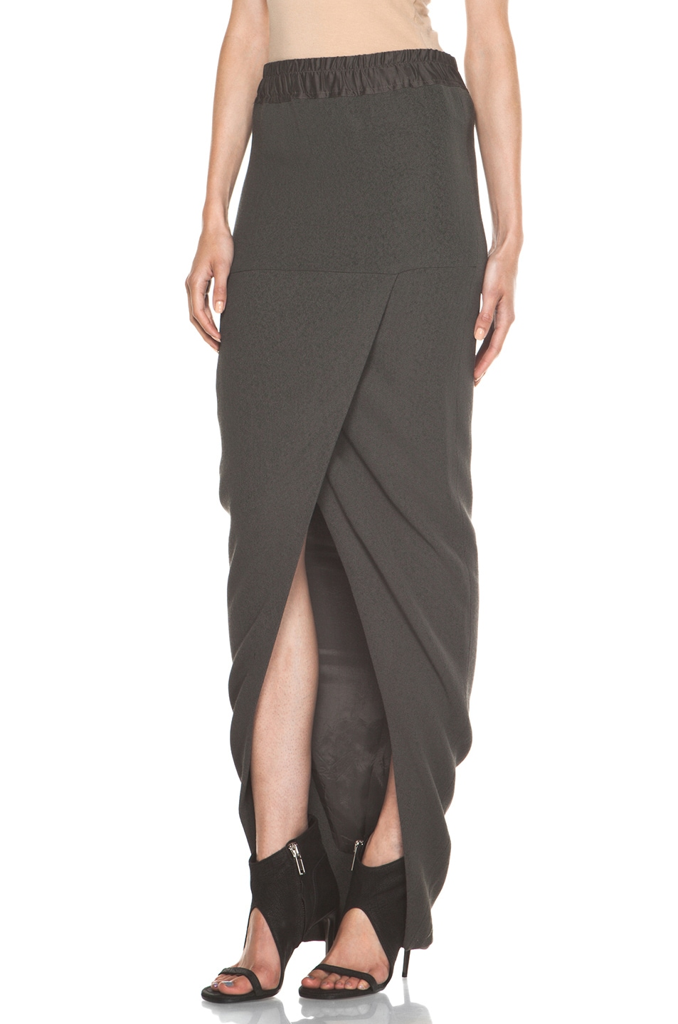 Image 2 of Rick Owens Front Wrap Skirt in Dark Dust