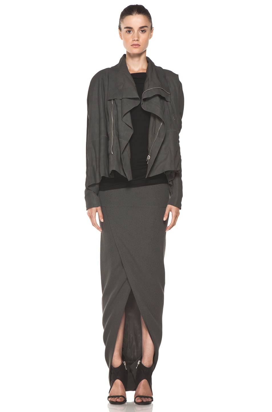 Image 5 of Rick Owens Front Wrap Skirt in Dark Dust