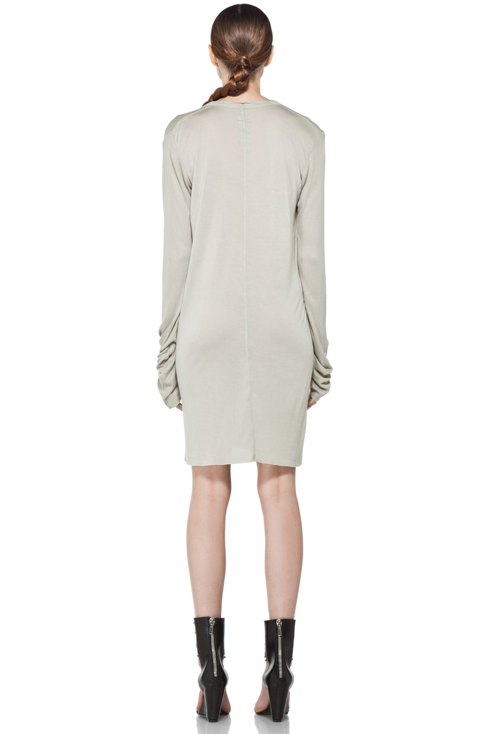 Image 4 of Rick Owens V Neck Long Sleeve Tunic in Pearl