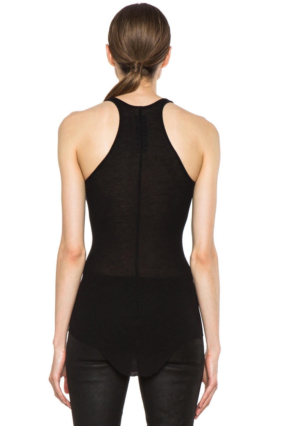 Image 4 of Rick Owens Ribbed Tank in Black
