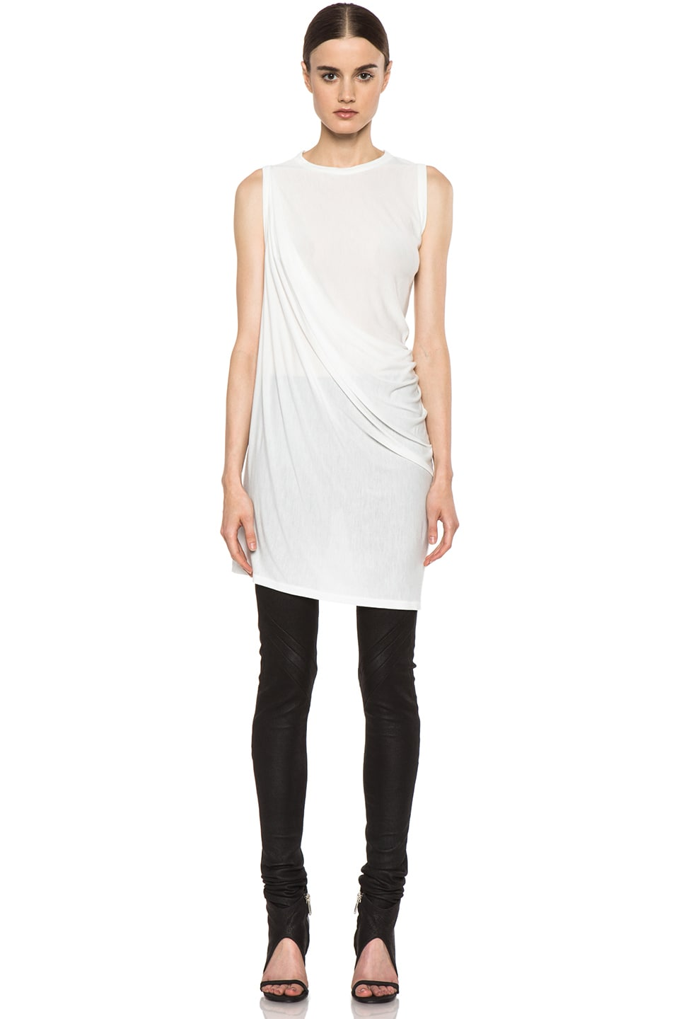 Image 1 of Rick Owens Anthem Viscose-Blend Tunic in Milk