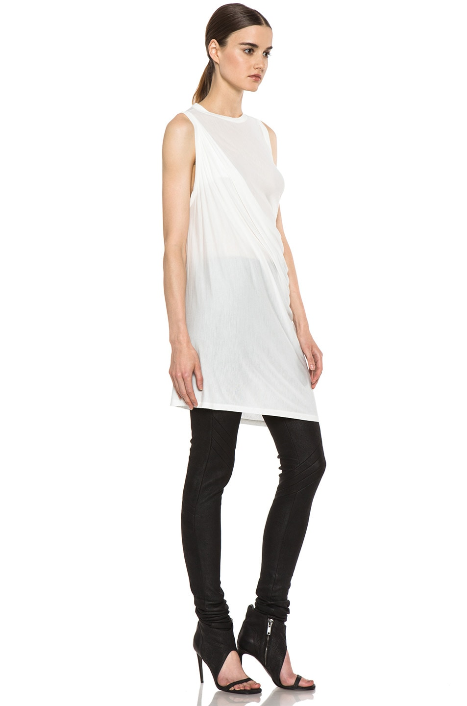 Image 3 of Rick Owens Anthem Viscose-Blend Tunic in Milk