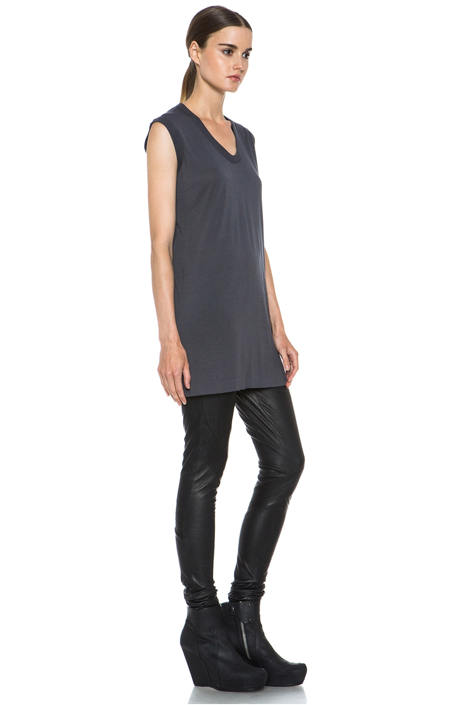 Image 3 of Rick Owens V Neck Tee in Petrol