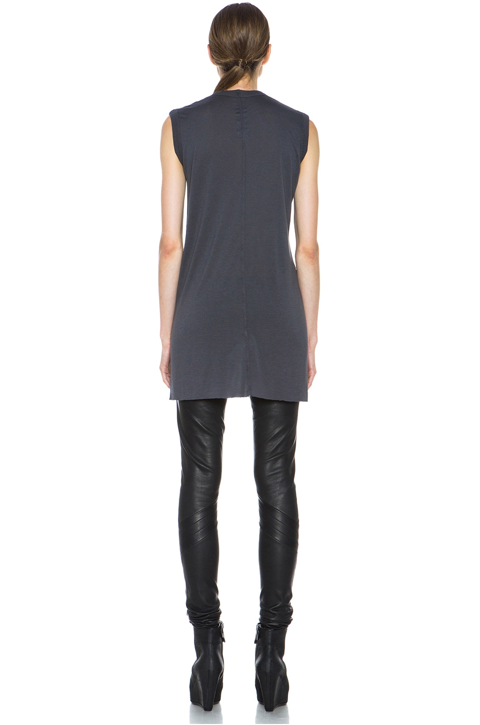 Image 4 of Rick Owens V Neck Tee in Petrol
