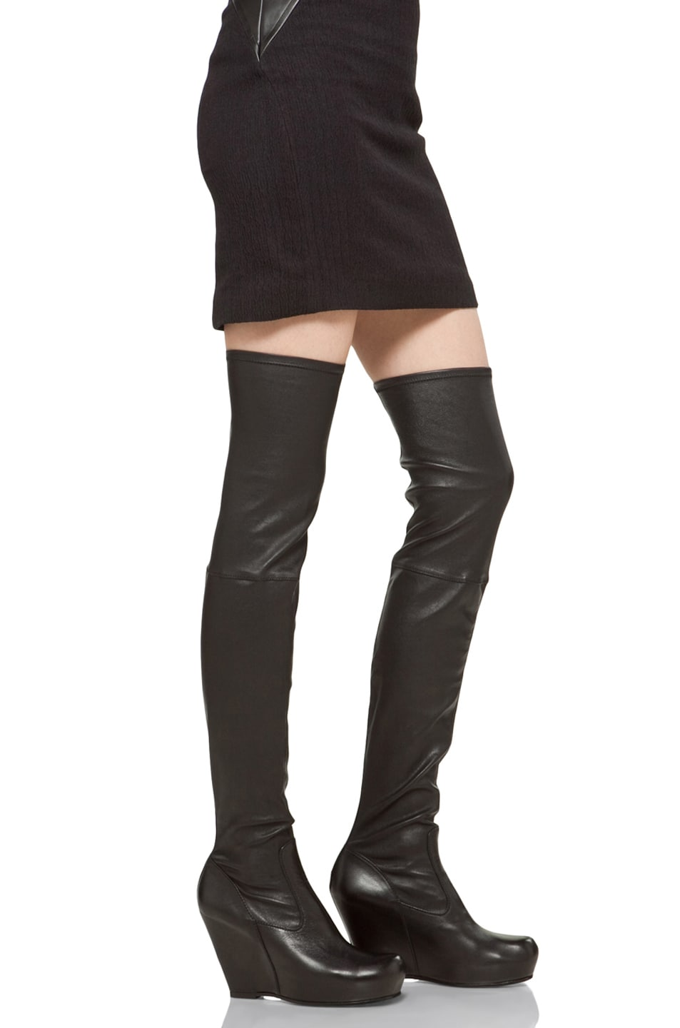 Image 2 of Rick Owens Thigh High Wedge in Black
