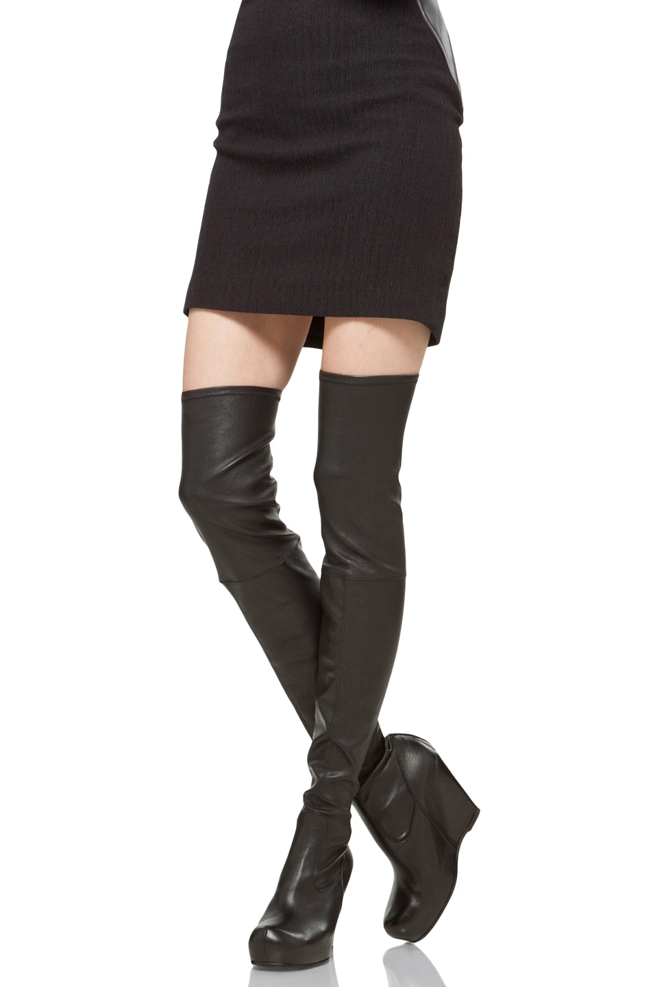 Image 3 of Rick Owens Thigh High Wedge in Black
