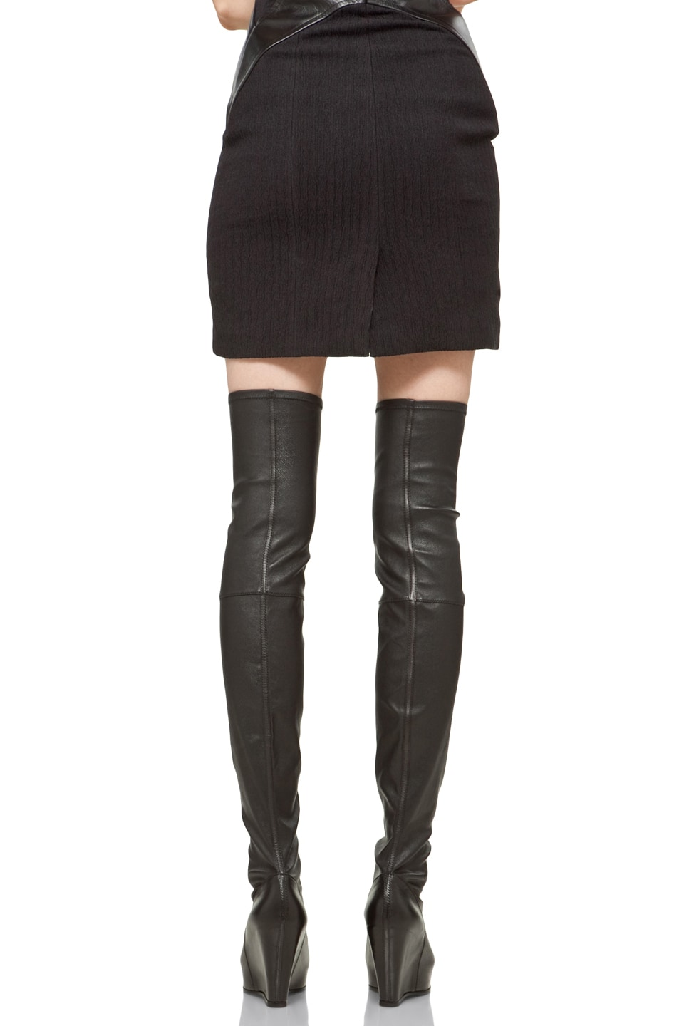 Image 4 of Rick Owens Thigh High Wedge in Black