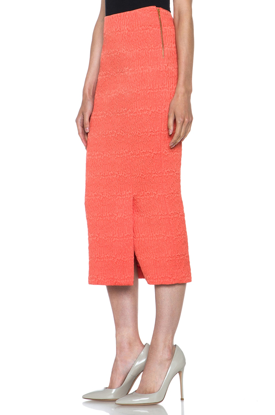 Image 2 of ROCHAS Poly Fitted Skirt in Coral